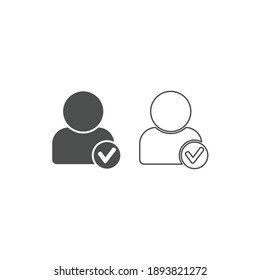 Profile check mark user outline and glyph vector icon