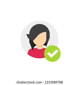 Profile with checkmark icon vector, flat cartoon user account accepted symbol with tick, approved or applied person sign, validation verified pictogram, authorized or choose member isolated