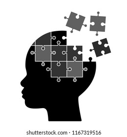 The profile of the child's head with pieces of the puzzle puzzles falls apart. The concept of mental illness Alzheimers, Autism, Down. flat vector illustration isolated on white background