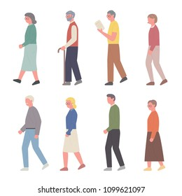 The profile of the elderly characters walking. flat design style vector illustration set