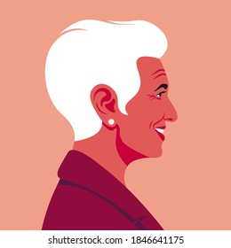 Profile of an elderly Latin American woman. The face of the grandmother is on the side. Business avatar. Vector flat Illustration