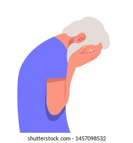 Profile of an elderly man in despair. The tragedy, the death of a loved one, a nervous breakdown. Vector flat illustration