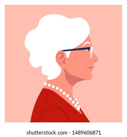 Profile of an elderly woman. The face of the pensioner is on the side. Avatar. Vector Flat Illustration
