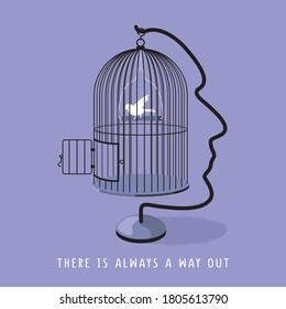 A man's profile forms a holder and hook for bird's cage. A white bird sees an opened door and ready to fly out. There is always a way out concept. Vector illustration and photo image available.