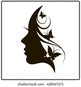 Profile of a girl with butterflies. Black and white vector illustration, youth and beauty, lady, pretty female face profile