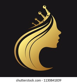 Profile of a girl with a crown of gold color
