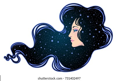 The profile of a girl with he hair full of stars inside. Female portrait of magic night fairy. Isolated vector illustration. Fantasy, spirituality, occultism, tattoo. Art nouveau inspired.