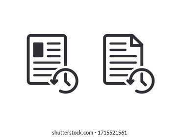 Profile history. Document history. Profile icon. Document icon. Paper icon. History icon. History line. Vector timer. Countdown time. Clock sign. Survey. Check Mark sign. Worksheet sign.