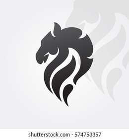 Profile horse head black and white. Abstract vector logo template