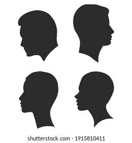 the profile of a human head, vector illustration sketch