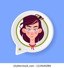 profile icon chat support bubble female emotion avatar, woman cartoon icon portrait surprised face flat vector illustration