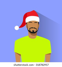 Profile Icon Hispanic Male New Year Christmas Holiday Red Santa Hat Avatar Portrait Casual Person Silhouette Face Flat Design Vector Illustration