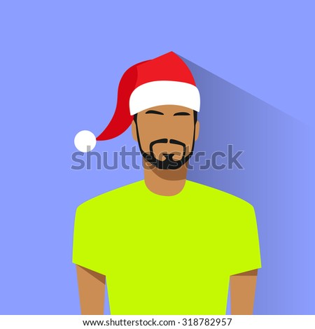 9baa4240cf4a9 Profile Icon Hispanic Male New Year Christmas Holiday Red Santa Hat Avatar  Portrait Casual Person Silhouette Face Flat Design Vector Illustration -  Vector