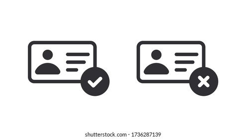 Profile icon. Id card. Personal document. Identification card icon. Medical card. Doctor id. Document icon. Reject file. Accept document. Symbols YES and NO. Accept profile. Id passport. Verification