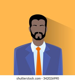Profile Icon Male Avatar Man African American Hipster Style Fashion Cartoon Guy Beard Portrait Person Silhouette Face Flat Design Vector Illustration