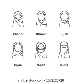 Profile icons for lots of different kinds of coverings worn by Muslim women all over the world such as Hijab, niqab or burka
