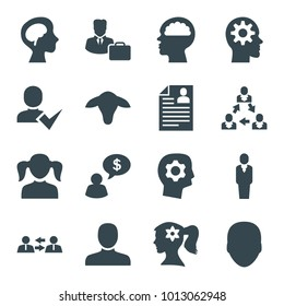 Profile icons. set of 16 editable filled profile icons such as goat, face, man, girl, woman face with flower in hair, gear in head, communication, human brain