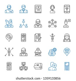 profile icons set. Collection of profile with mobile phone, user, post it, network, placeholder, mind, woman, alexander the great, curriculum. Editable and scalable profile icons.