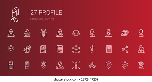 profile icons set. Collection of profile with placeholder, network, man, mobile phone, biography, woman, curriculum, mind, customer service. Editable and scalable profile icons.