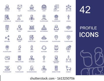 profile icons set. Collection of profile with woman, cat, placeholder, user, user list, network, curriculum, remove user, man, suit, mobile phone. Editable and scalable profile icons.