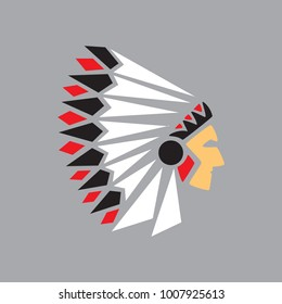 Profile of an Indian. Logo or icon.