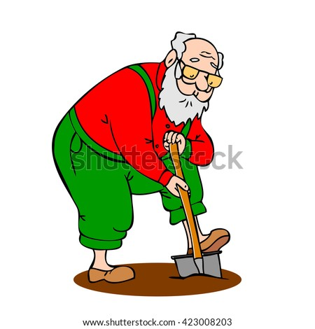 Profile isolated fun adult vector caricature male character grandfather outside old drawing one shovel elder gardening portrait beard funny support elderly illustration pension lifestyle healthy retro