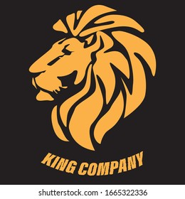 Profile of a lion in orange on a black background. Lion logo for companies. Rigorous style