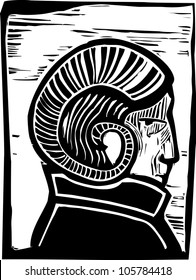 Profile of a man with Rams Horns on his head.