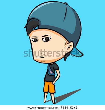 Profile Man Wear Hat Big Head Stock Vector (Royalty Free) 511415269 ... 888652419b9