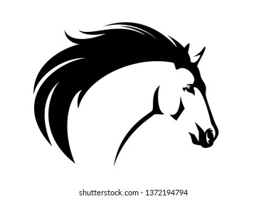 profile mustang horse head with flying mane - black and white animal vector portrait