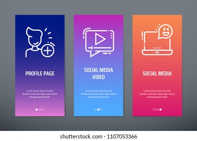 Profile page, Social media video, Social media Vertical Cards with strong metaphors. Template for website design.