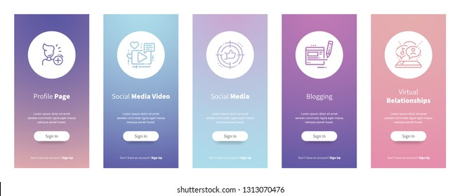Profile page, Social media video, Social media, Blogging, Virtual relationships Vertical Cards with strong metaphors. Template for website design.
