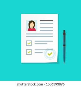 Profile paper document with personal data as employee hire interview cv or resume card with credential vector illustration, flat cartoon application form, recruitment checklist or customer evaluation
