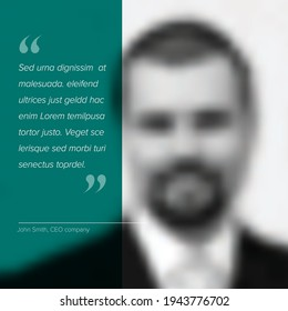 Profile photo with a quote template. Profile qote template for motto, testimonial, review, opinion. Photo quotation layout with portrait photo placeholder and dummy quote text.