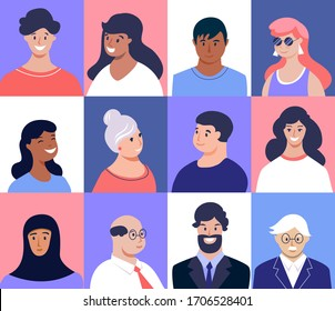 Profile picture. Male and female faces. Young, seniors people of different nationalities. Vector illustration , flat design.