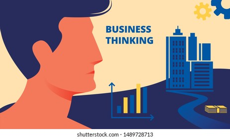 Profile Picture Man on City Background. Business Thinking. Advertising Image. Cartoon Flat Vector Illustration. Man Face with Short Black Hair in Profile. Man Thought. Design Training.