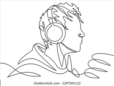 profile portrait of  man in headphones - continuous line drawing