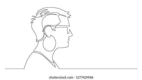 profile portrait of short-haired woman with big earrings - continuous line drawing on white background