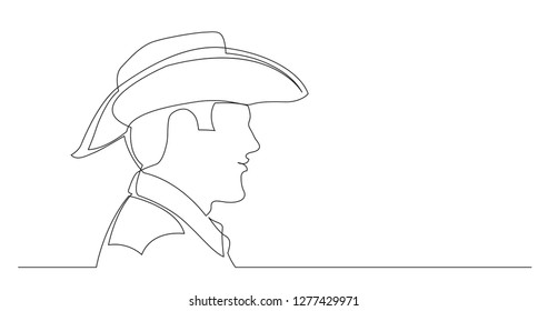 profile portrait of smiling man in cowboy hat and shirt - continuous line drawing on white background