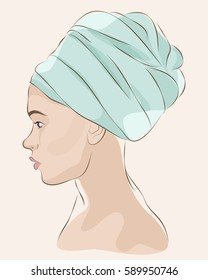 Profile portrait of woman in blue turban or towel. Vector illustration
