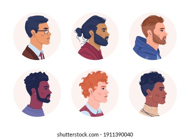 Profile portraits of multiracial men isolated flat cartoon people. Vector multicultural and multiethnic group, caucasian, afro american and arabian set. Mixed interracial community, guys side view