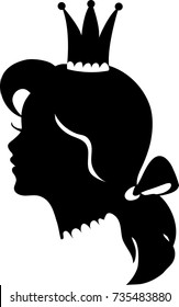 Profile of a princess or queen. Vector silhouette illustration. Cute pretty girl portrait. Fashion branding symbol