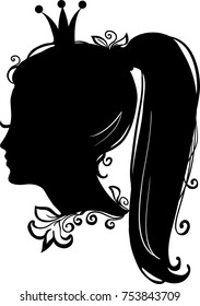 Profile of a princess or queen. Vector silhouette icon illustration. Cute pritty girl portrait. Fashion branding symbol