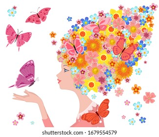 profile of romantic girl with floral hairstyle, holding a fluttering butterfly surrounded by flying little flowers and colorful moths
