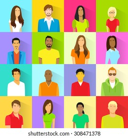 Profile Set Icon Avatar Mix Race Ethnic Man and Woman Portrait Casual Person Colorful Silhouette Face Flat Design Vector