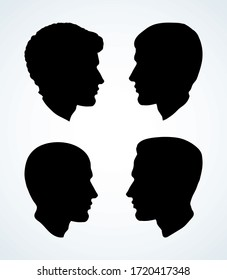 Profile silhouette of a man. Vector drawing