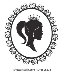 Profile silhouette of a princess in a frame on a white background