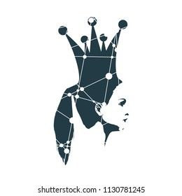 Profile view silhouette of a princess or queen. Cute adolescent girl portrait. Fashion branding emblem. Silhouette textured by lines and dots pattern