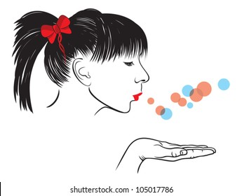 Profile woman face vector blowing a kiss