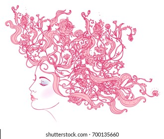 Profile of a young girl with peonies in her hair. Hand drawn vector fashion illustration in pink color. Female portrait of magic floral fairy. Fantasy, Beauty, fashion, tattoo design.